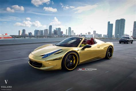 gold ferrari 458 italia golden ferrari 458 spider on vellano wheels autofluence