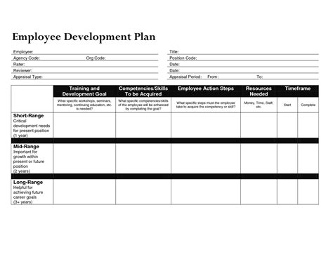 templates for employers development plan template for employees