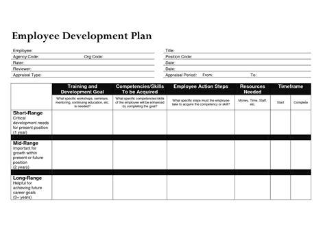 employee professional development plan template development plan template for employees