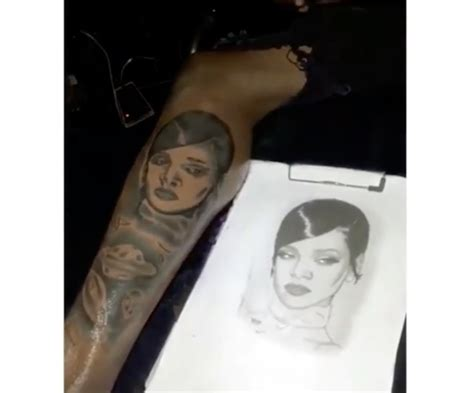 rihanna hip tattoo dancehall gage gets a of rihanna www