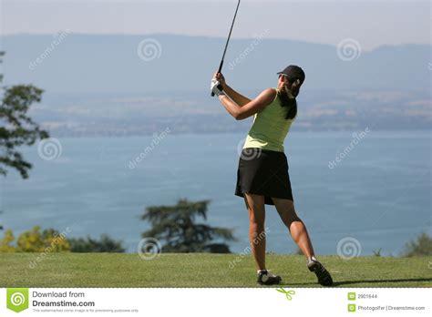lady golf swing lady golf swing at leman lake stock images image 2901644