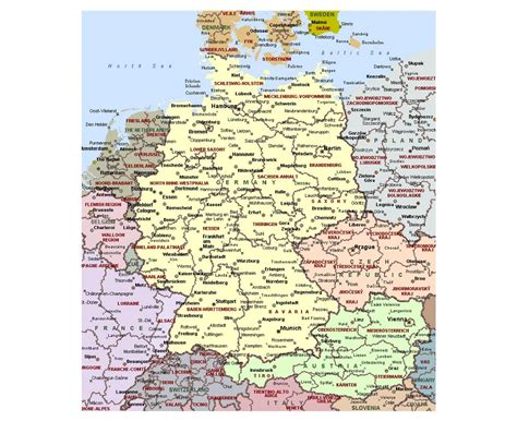 germany major cities map geography detailed map of germany
