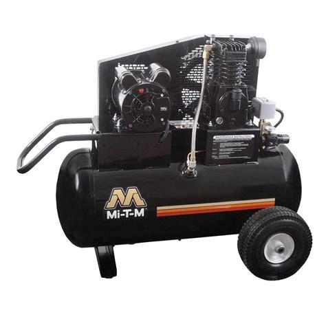 mi t m 20 gal 6 5 cfm at 100 psi 120 volt 1 5 hp electric motor portable air compressor am1