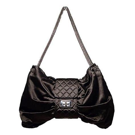 chanel black satin bow shoulder evening bag for sale at
