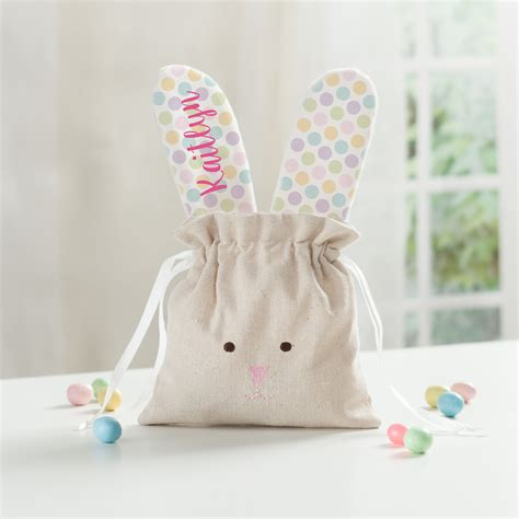 Rabbit Polka Backpack personalized linen drawstring bunny bag personalized planet