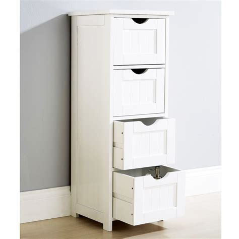 Bathroom Storage Drawers Modern Shaker Baltimore White 4 Drawer Storage Bathroom Cabinet Cupboard Wooden Ebay