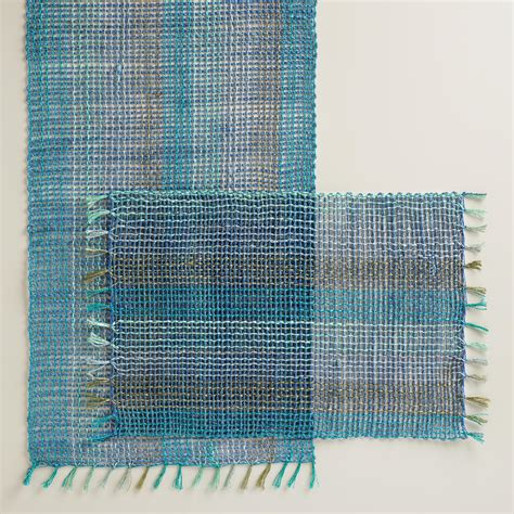 aqua blue table ls blue and aqua abaca table linen collection world market