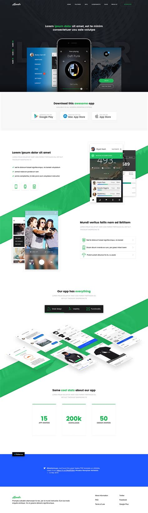 mobile landing page templates free mobile application landing page free psd
