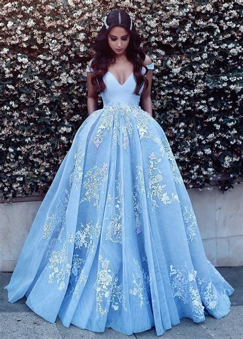ball gown and prom dresses light blue ball gowns prom dresses 2018 lace appliques