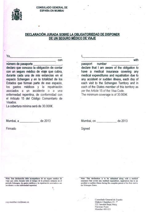 Visa Declaration Letter Spain Visa Services Bookmyticket