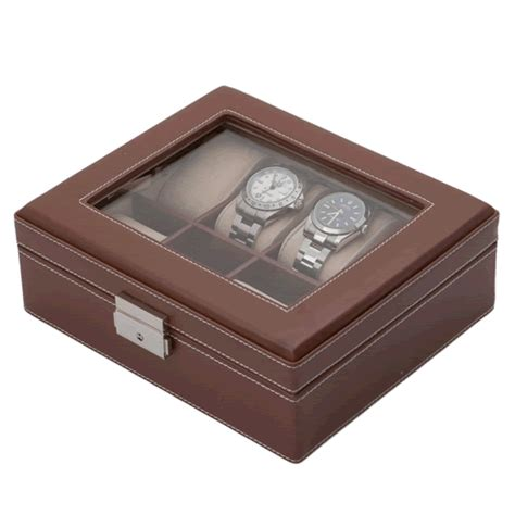 Decorative Display Cases by Brown Leather Eight Display With Decorative