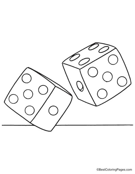 color dice two dice coloring page free two dice coloring