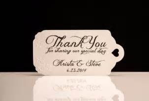 wedding favor tags hand embossed personalized thank