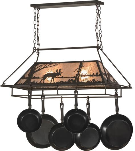 Rubbed Bronze Pot Rack Meyda 152951 Moose At Lake Rustic Rubbed
