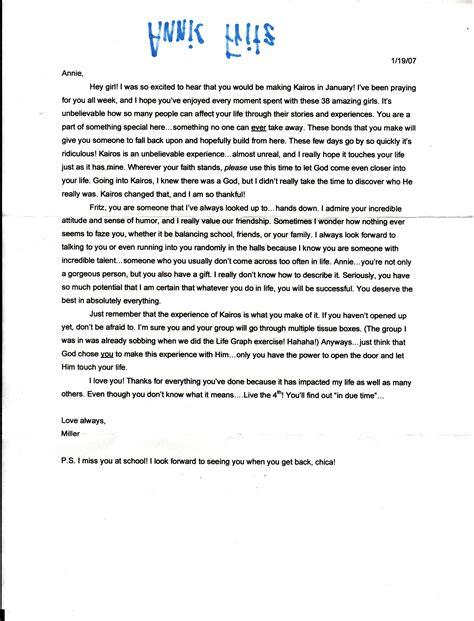 Parent Letter Of Affirmation Kairos Letter 1 If Memory Serves