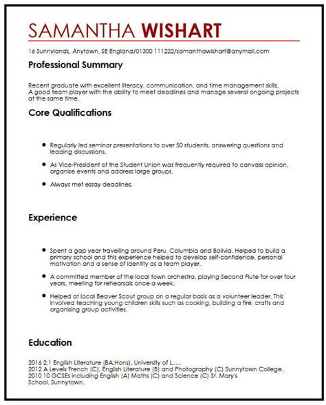 sample resumes with no job experience resume