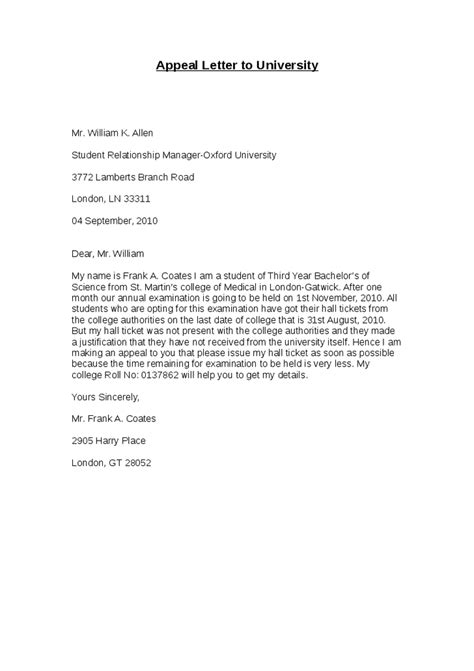 College Admission Appeal Letter Format how to write an appeal letter on academic dismissal