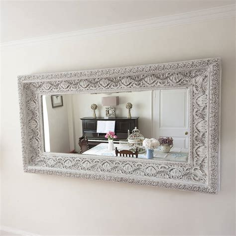 carved white shabby chic mirror by decorative mirrors