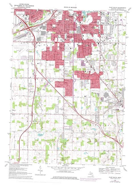 where is flint on map flint south topographic map mi usgs topo 42083h6