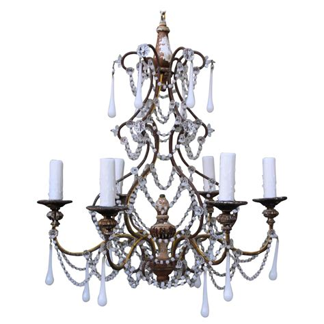 White Chandelier For Sale Six Light White Opaline Chandelier Circa 1900 For Sale At