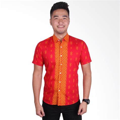 Kemeja Slimfit Pria Lengan Pendek Cotton Stretch Pattern Banyak Warna Jual Odza Lengan Pendek Kemeja Batik Pria Merah
