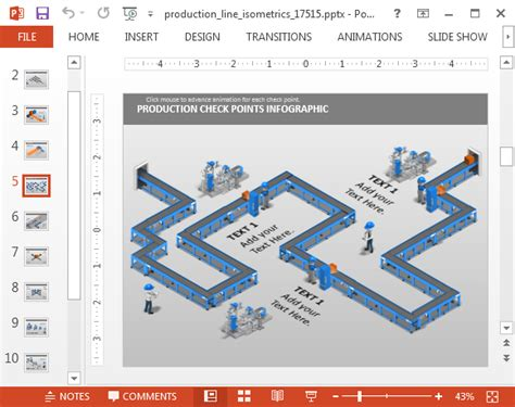 animation move layout production line isometric powerpoint template