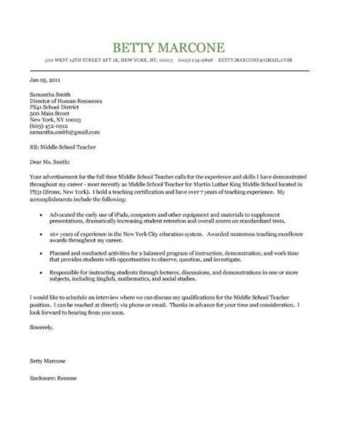 middle school teacher cover letter cover letter teacher