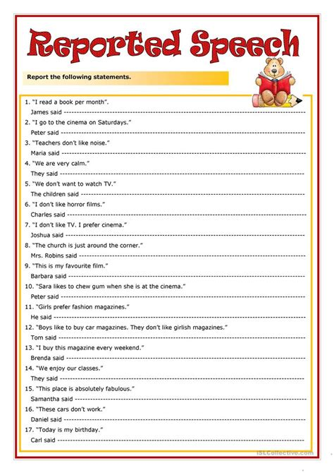 Speech Worksheets by Reported Speech Worksheets Www Pixshark Images