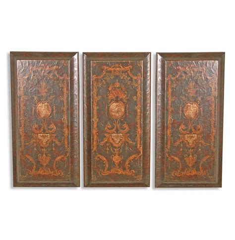 wooden wall decor panels set of 3 baroque italian painted wooden wall panels