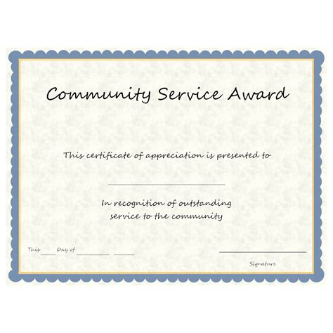 Service Certificate Template by Community Service Award