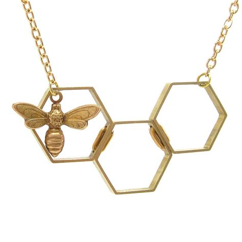 Necklace By honey bee hexagon necklace by loubijoux notonthehighstreet