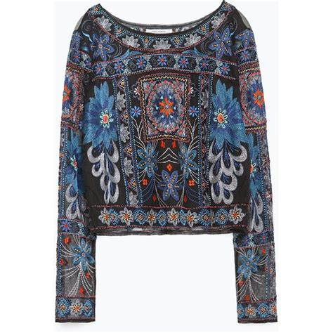 A7132 Blouse Premium Zara Crop zara embroidered top 100 liked on polyvore featuring
