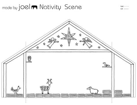 small nativity coloring page made by joel paper city nativity scene template kids craft