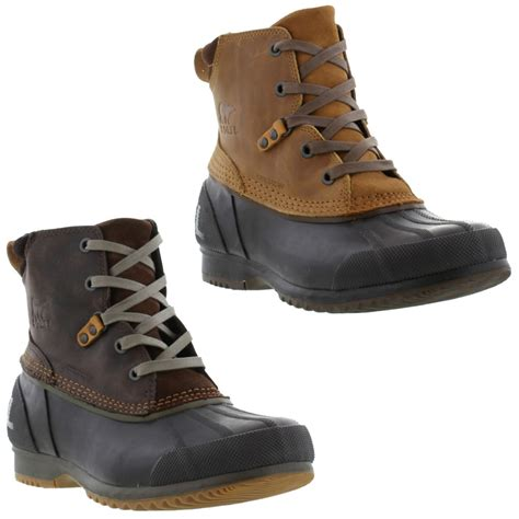 new sorel ankeny waterproof mens leather ankle boots shoes