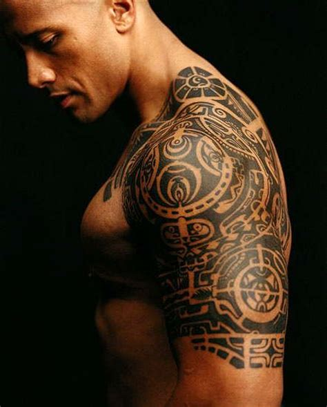 Dwayne The Rock Johnson Shoulder Tattoo | the rock aka dwayne johnson s tribal shoulder arm