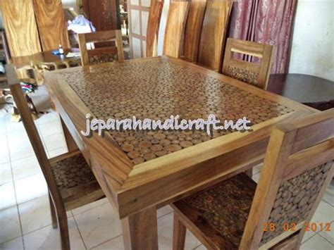 Meja Kayu Antik jual set meja makan antik koin jati finishing