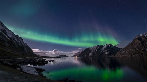 mar lights fondos de pantalla noruega las islas lofoten luces