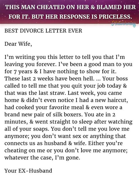 Divorce Letter To Husband In Best Response To A Husband This Is Priceless