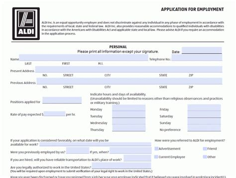 printable job application for aldis aldi application pdf print out regarding aldi job