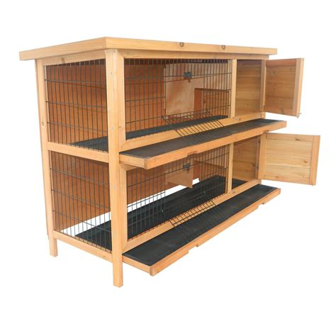 Wood For Rabbit Hutch pawhut 2 story stacked wooden outdoor bunny rabbit hutch guinea pig wood cage ebay