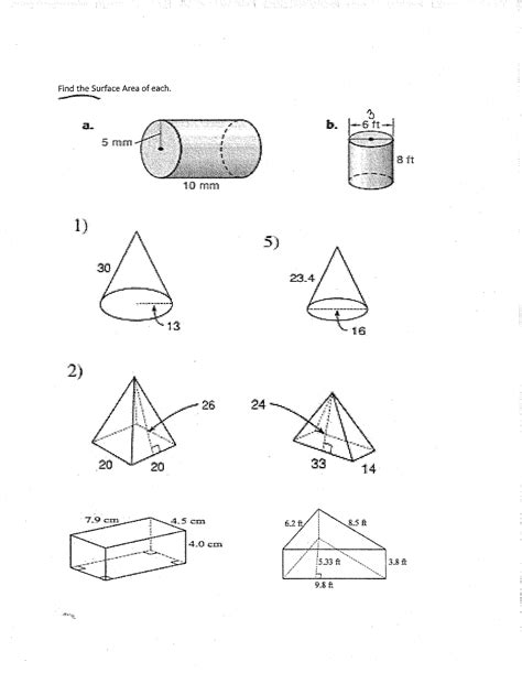 Surface Area Worksheet 7th Grade 12 best images of surface area worksheets 7th grade 8th