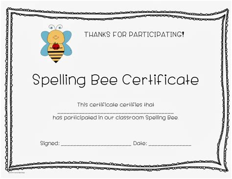 c is for creative classroom spelling bee certificate
