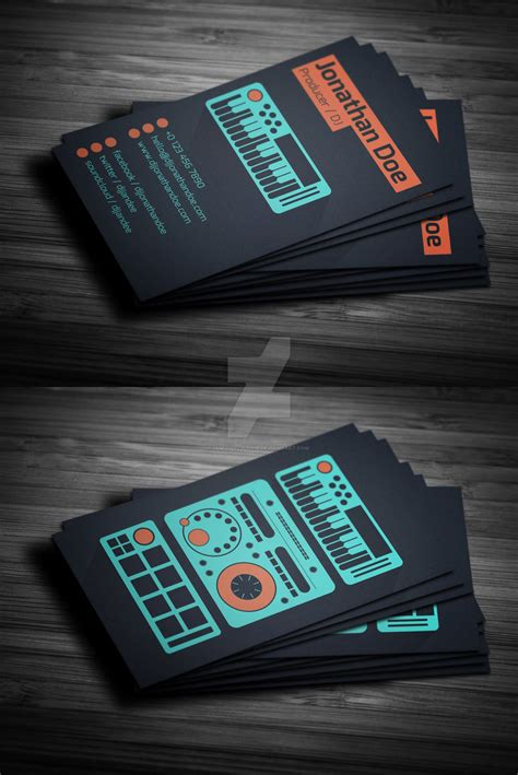 dj business card template psd free flat producer dj business card psd template by
