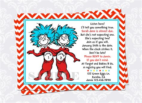 chandeliers pendant lights - Thing 1 And Thing 2 Baby Shower Invitations