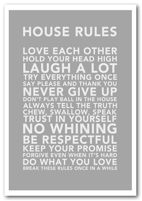 family house rules framed print house rules 3 grey white text quotes framed art giclee art