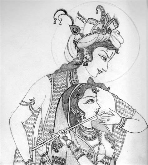 radha krishna drawing sketches and paintings