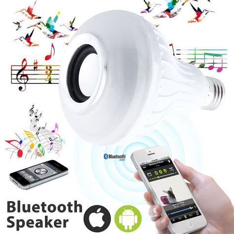 Bohlam Led Rgb E27 Dengan Bluetooth Speaker wireless 12w power e27 rgb led bulb 85 265v bluetooth speaker smart led light l