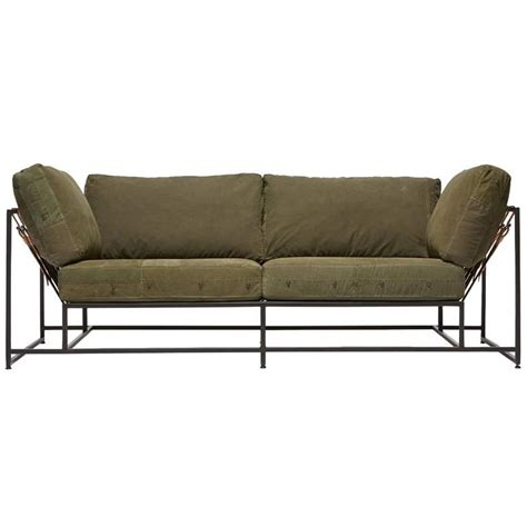 army sofa vintage military canvas and blackened steel two seat sofa