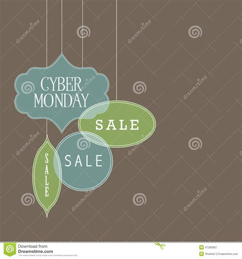 cyber monday desk sale flat design cyber monday sale ornaments background stock