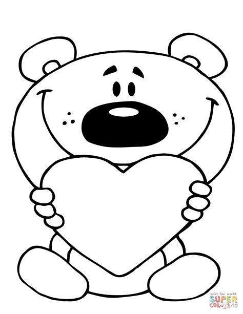 teddy bear holding a heart coloring page teddy bear with heart coloring pages kids coloring